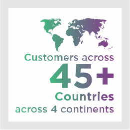 Customers across 45 countries across 4 continents