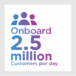 2.5 million customers onboard daily