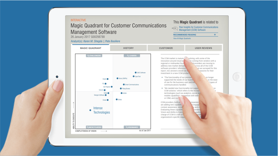 Intense Technologies named a Niche Player in the Gartner Magic Quadrant for Customer Communications Management (CCM) software